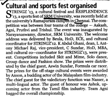 Cultural and sports fest organised (SRM University)