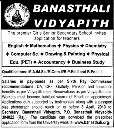 Teachers for accountancy, Math and English etc (Banasthali University Banasthali Vidyapith)