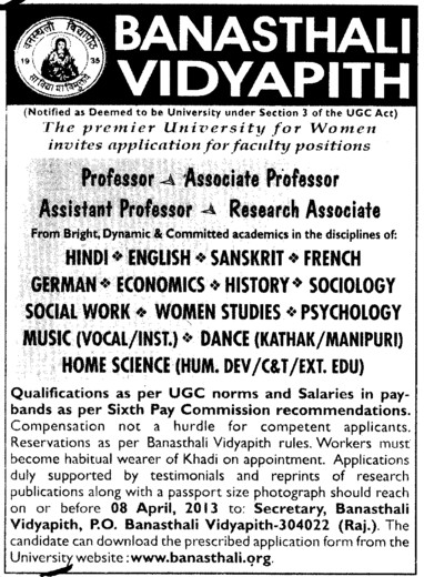 Professor, Asstt Professor and Associate Professor (Banasthali University Banasthali Vidyapith)