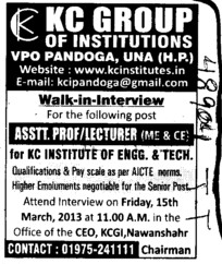 Asstt Professor and Librarian (KC Group of Institutions)