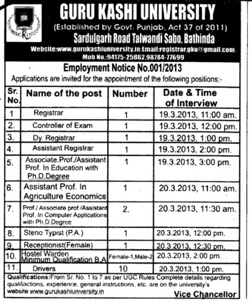 Registrar, COE, Asstt Professor and Steno typist etc (Guru Kashi University)