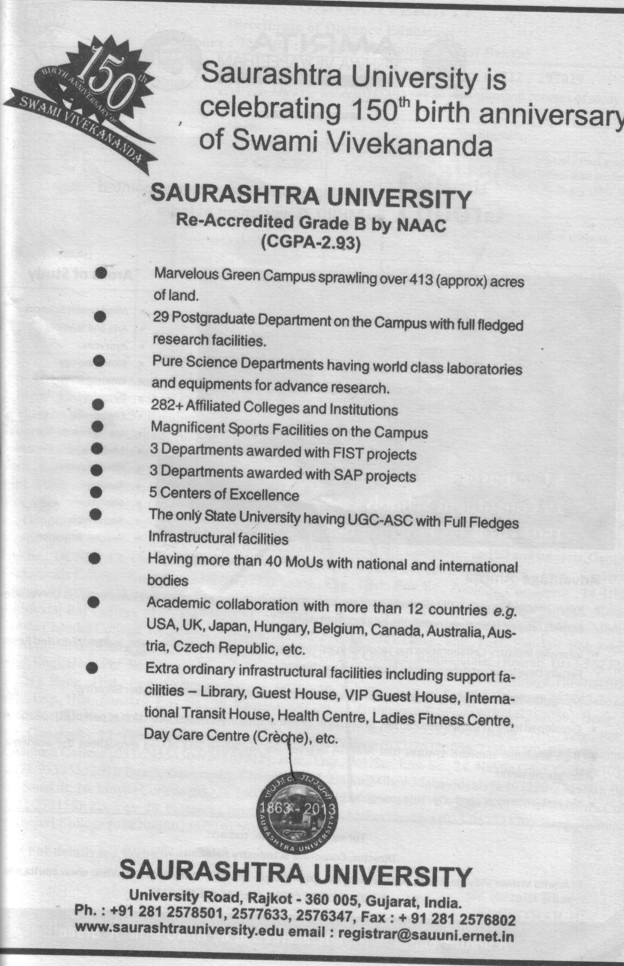 29 PG departments and 5 centres for excellence etc (Saurashtra University)