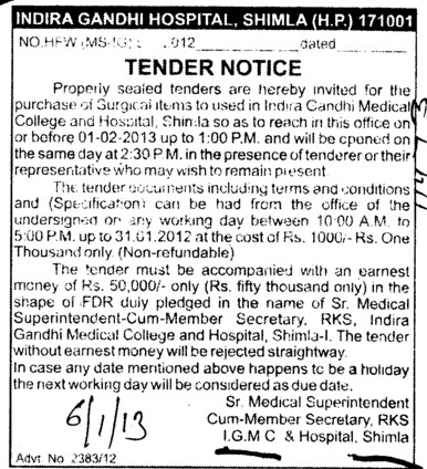 Purchase of Surgical items (Indira Gandhi Medical College (IGMC))