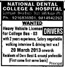 Drivers (National Dental College and Hospital Gulabgarh)