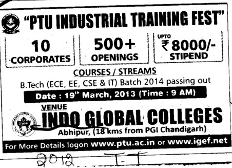 PTU Industrial Training Fest (Indo Global Group of Colleges)