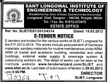 Hardware and Sanitary materials etc (Sant Longowal Institute of Engineering and Technology SLIET)