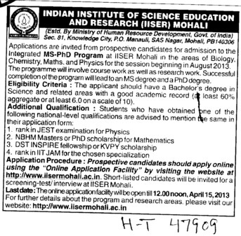 MS PhD Programmes (Indian Institute of Science Education and Research (IISER))