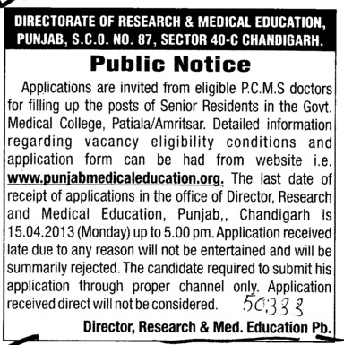 Filling up the senior Residents post (Director Research and Medical Education DRME Punjab)
