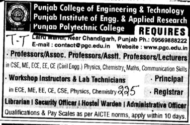 Workshop Instructor, Lab Technician and Hostel Warden etc (Punjab College of Engineering and Technology)