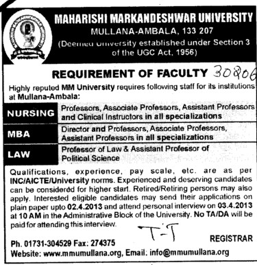 Director, Asstt Professor and Professor of Law etc (Maharishi Markandeshwar University)
