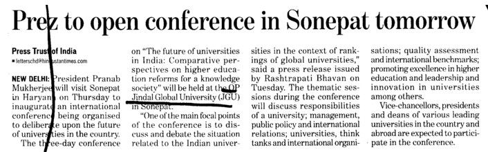 Prez to open conference in Sonepat tomorrow (OP Jindal Global University)