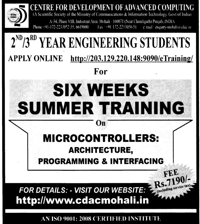 6 weeks summer training (Centre for Development of Advanced Computing)
