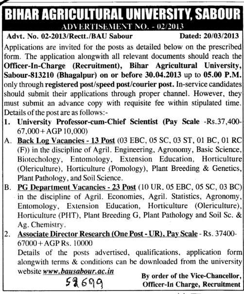 Professor cum chief Scientist (Bihar Agricultural University)
