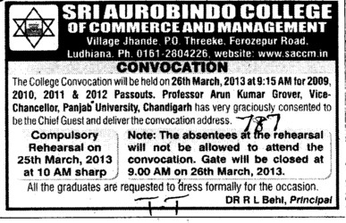 Annual Convocation Program (Sri Aurobindo College of Commerce and Management)