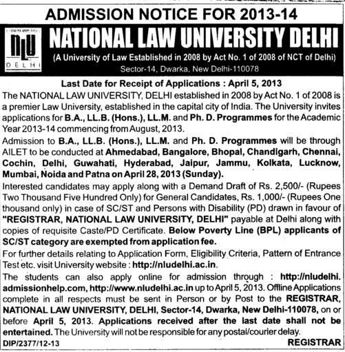 BA, LLb, LLM and PhD programmes etc (National Law University)
