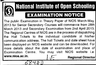 Examination Notice for Theory Paper of NIOS (National Institute of Open Schooling)