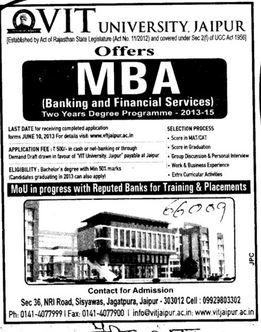 MBA in Banking and Finance (Vivekanand Institute of Technology)