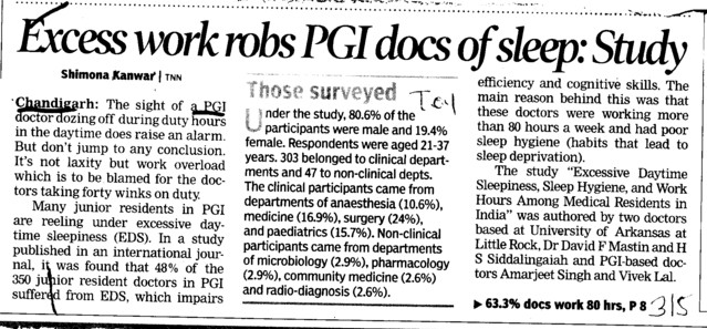Excess work robs PGI docs of sleep, Studdy (Post-Graduate Institute of Medical Education and Research (PGIMER))