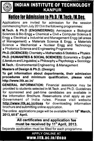 PhD and MTech Courses etc (Indian Institute of Technology (IITK))