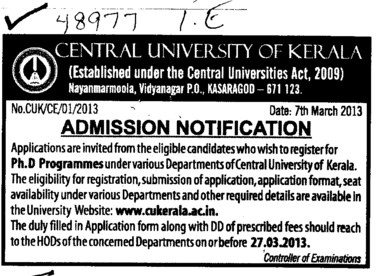 PhD Programme (Central University of Kerala)