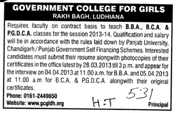 Faculty for BBA, BCA and PGDCA (Government College for Women)