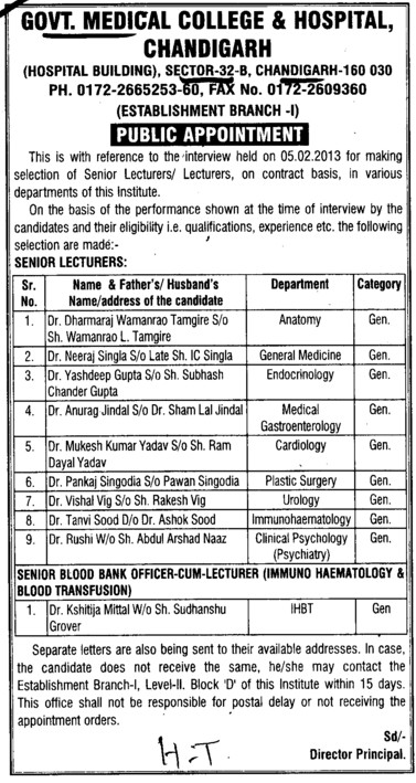 Senior Lecturer (Government Medical College and Hospital (Sector 32))