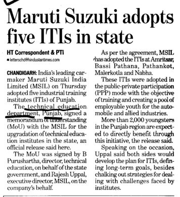 Maruti adopts five ITIs (Directorate of Technical Education and Industrial Training Punjab)