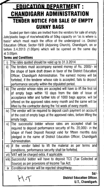 Gunny bags (Education Department Chandigarh Administration)