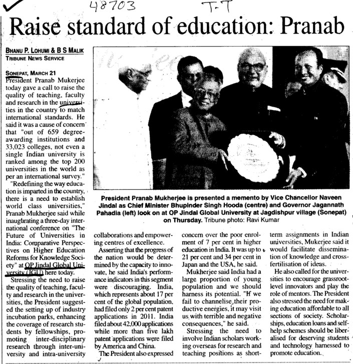 Raise standard of Education (OP Jindal Global University)