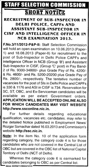 Sub Inspector and Asstt Sub Inspector (Staff Selection Commission)