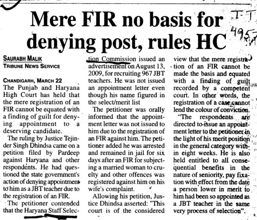 FIR no basis for denying post, HC (Haryana Staff Selection Commission (HSSC))