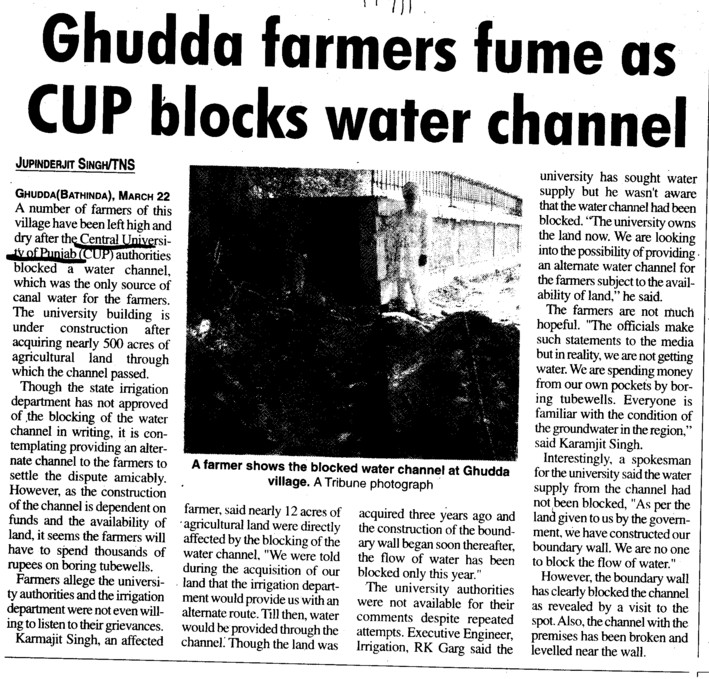 Ghudda farmers fume as CUP blocks water channel (Central University of Punjab)