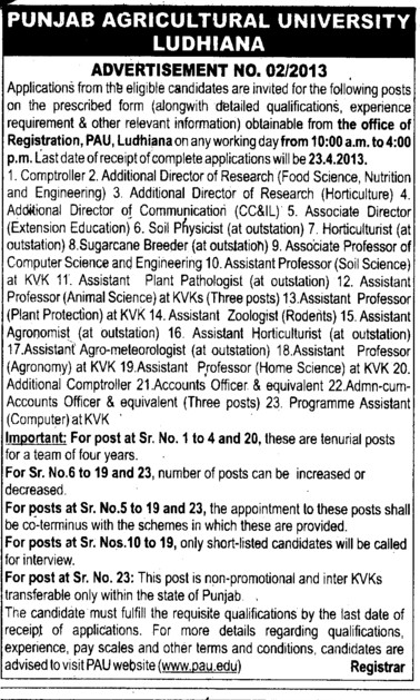 Additional Director and Asstt Director (Punjab Agricultural University PAU)