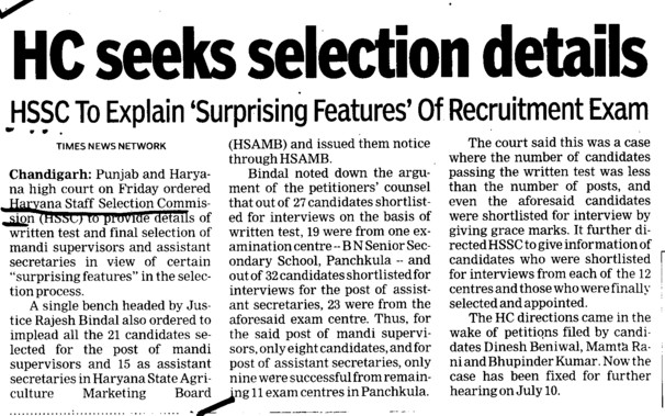 HC Seeks selection details (Haryana Staff Selection Commission (HSSC))