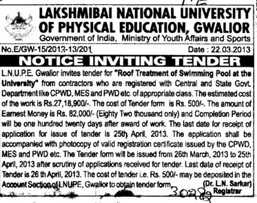 Treatment of Swimming Pool (Lakshmibai National University of Physical Education (LNUPE))