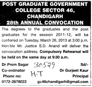 28 th Annual Convocation (Post Graduate Government College, Co-Educational (Sector 46))
