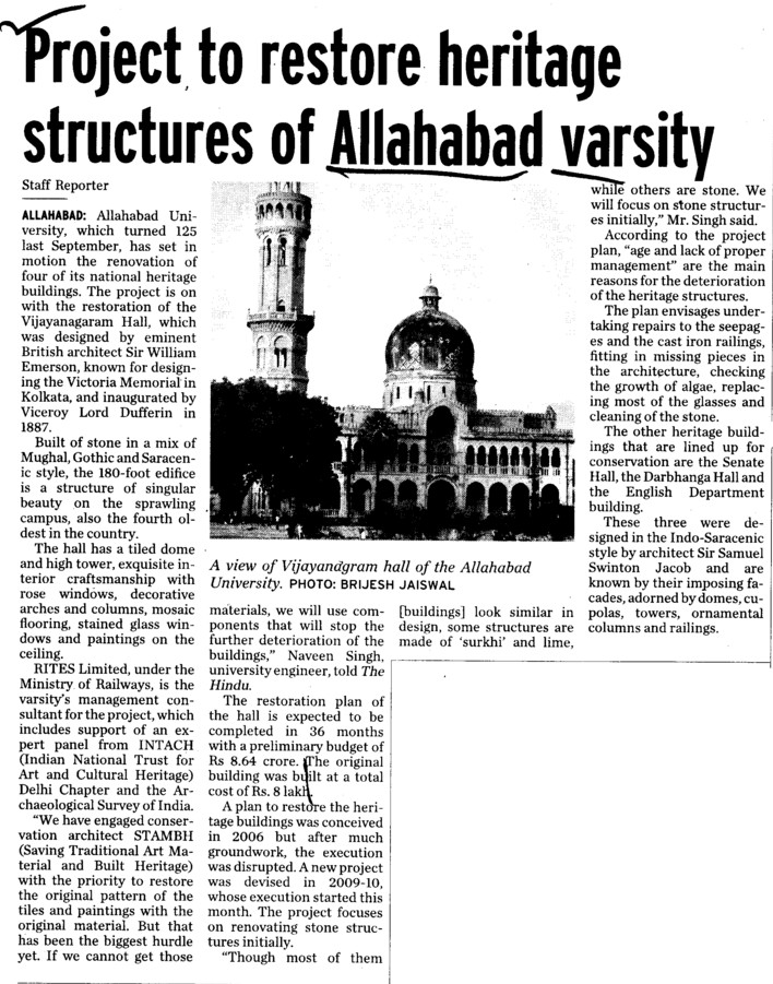 Project to restore heritage structures (University of Allahabad)