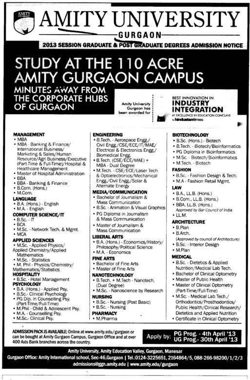 BCA, MCA and MBA Courses (Amity University Manesar)
