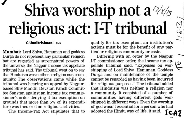 Shiva worship not religious act, IT tribunal (Institute of Chartered Accountants of India (ICAI))
