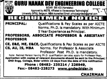Principal, Professor and Asstt Professor (Guru Nanak Dev Engineering College (GNDEC))
