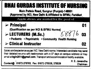 Clinical Instructor and Lecturers (Bhai Gurdas Institute of Nursing)