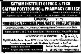 Professor, Asstt Professor and Associate Professor (Satyam Institute of Engineering and Technology)