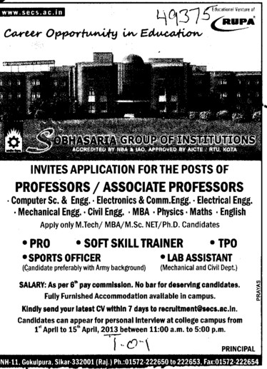 Sports Officer, TPO and Lab Asstt (Sobhasaria Group of Institution)