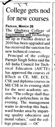 College gets nod new courses (Ghubaya College of Engineering and Technology GCET)