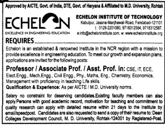Professor and Asstt Professor (Echelon Institute of Technology)