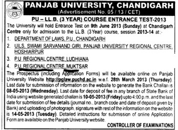 PU LLB Entrance Test (Panjab University Regional Centre, Department of Law)