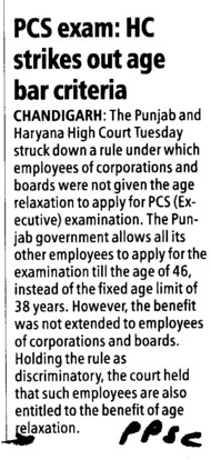 HC strikes out age bar criteria (Punjab Public Service Commission (PPSC))