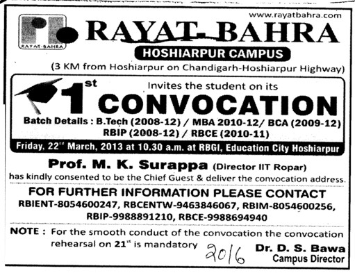 1 st Annual Convocation (Rayat and Bahra Group)