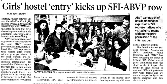 Girls hostel entry kicks up SFI ABVP row (Himachal Pradesh University)