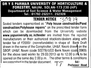 Polyhouse repairs (Dr Yashwant Singh Parmar University of Horticulture and Forestry)